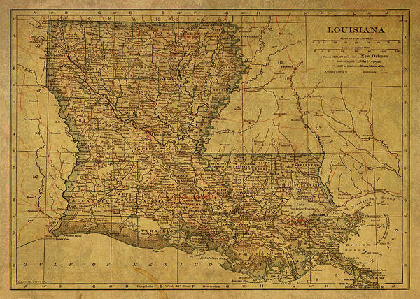 Wall Art - Mixed Media - Vintage Map Of Louisiana by Design Turnpike