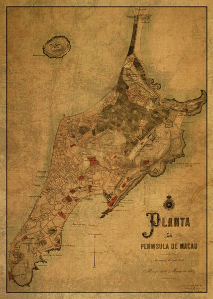 Macau Mixed Media - Vintage Map Of Macau 1889 by Design Turnpike
