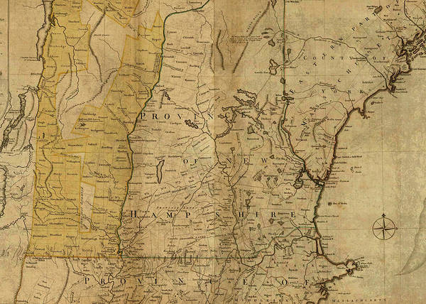 Vintage Map Of Maine New Hampshire Vermont And Massachusetts Art Print
