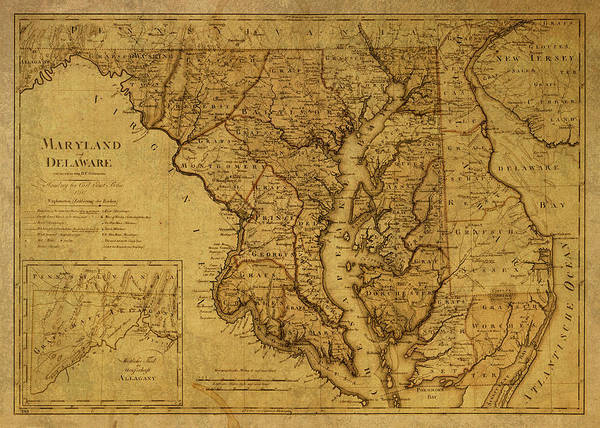 Maryland Mixed Media - Vintage Map Of Maryland by Design Turnpike