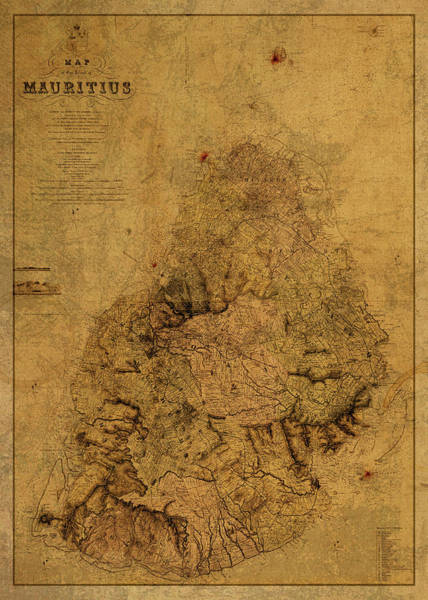 Wall Art - Mixed Media - Vintage Map Of Mauritius 1880 by Design Turnpike