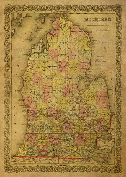 Wall Art - Mixed Media - Vintage Map Of Michigan Lower Peninsula by Design Turnpike