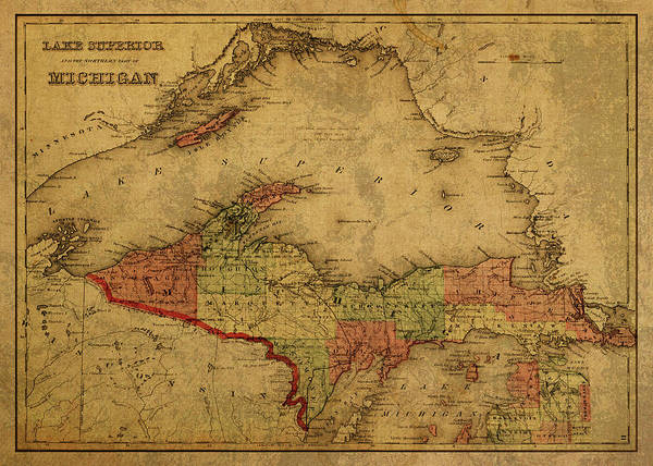 Upper Peninsula Wall Art - Mixed Media - Vintage Map Of Michigan Upper Peninsula And Lake Superior 1873 by Design Turnpike