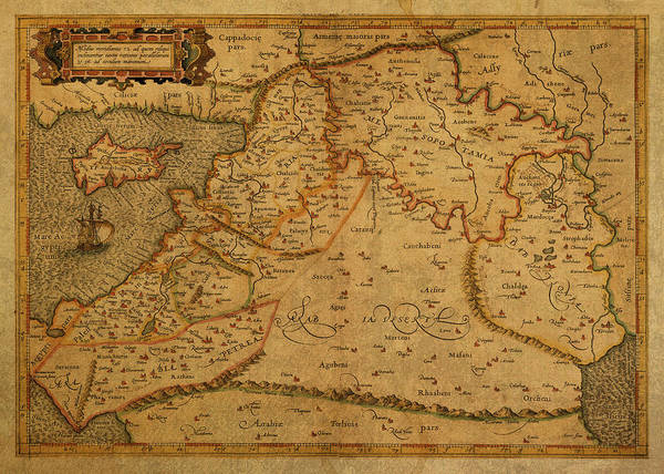 Wall Art - Mixed Media - Vintage Map Of Middle East 1584 by Design Turnpike