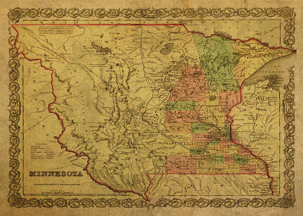 Wall Art - Mixed Media - Vintage Map Of Minnesota 1850 by Design Turnpike