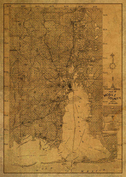 Wall Art - Mixed Media - Vintage Map Of Mobile Alabama 1895 by Design Turnpike