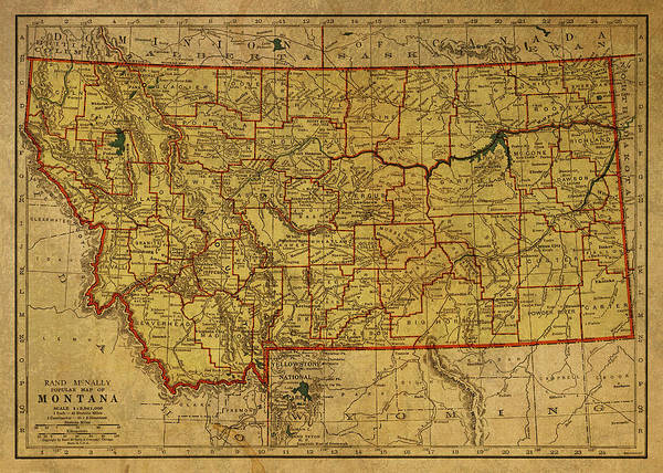 Wall Art - Mixed Media - Vintage Map Of Montana by Design Turnpike