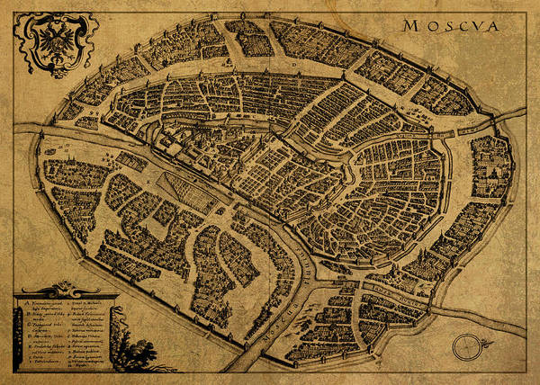 Moscow Mixed Media - Vintage Map Of Moscow Russia 1695 by Design Turnpike