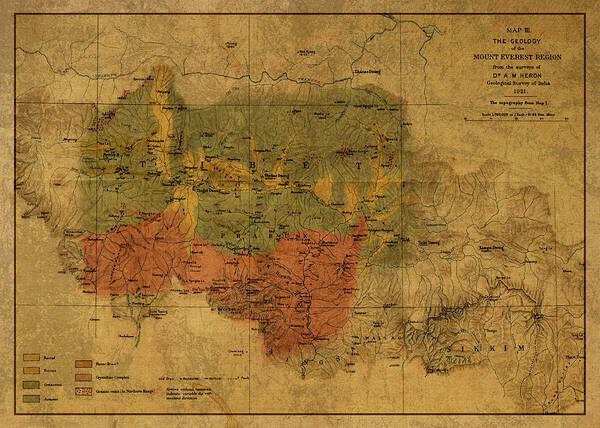1921 Mixed Media - Vintage Map Of Mount Everest Region 1921 by Design Turnpike