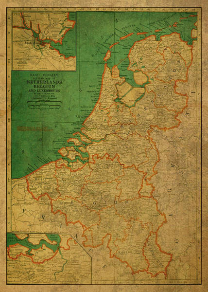 Belgium Mixed Media - Vintage Map Of Netherlands And Belgium 1940 by Design Turnpike