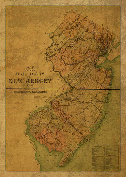 New Jersey Mixed Media - Vintage Map Of New Jersey 1887 by Design Turnpike