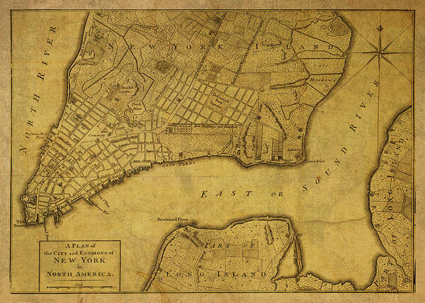 Wall Art - Mixed Media - Vintage Map Of New York City 1776 by Design Turnpike