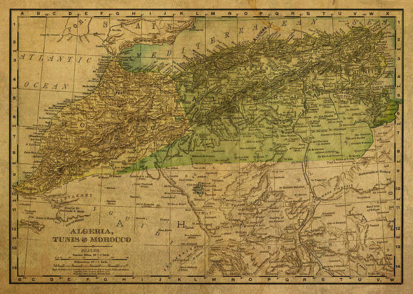 North Africa Wall Art - Mixed Media - Vintage Map Of North Africa Including Morocco Algeria And Tunisia 1901 by Design Turnpike