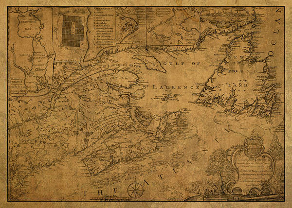 Wall Art - Mixed Media - Vintage Map Of Nova Scotia Canada 1776 by Design Turnpike