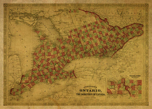 Ontario Mixed Media - Vintage Map Of Ontario Canada by Design Turnpike