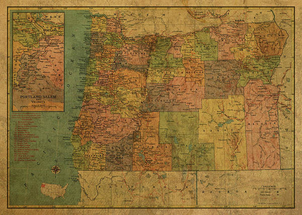 Wall Art - Mixed Media - Vintage Map Of Oregon 1958 by Design Turnpike