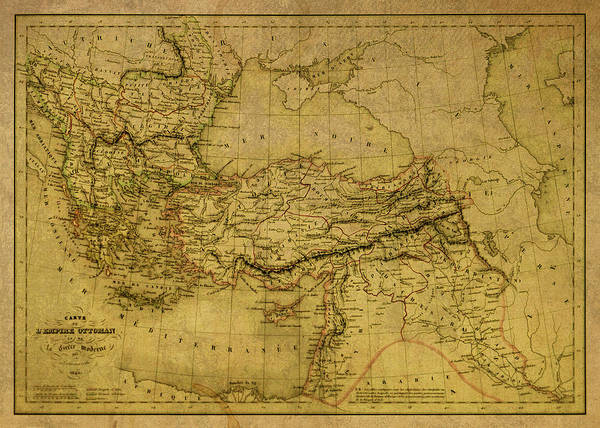 Empire Mixed Media - Vintage Map Of Ottoman Empire 1845 by Design Turnpike