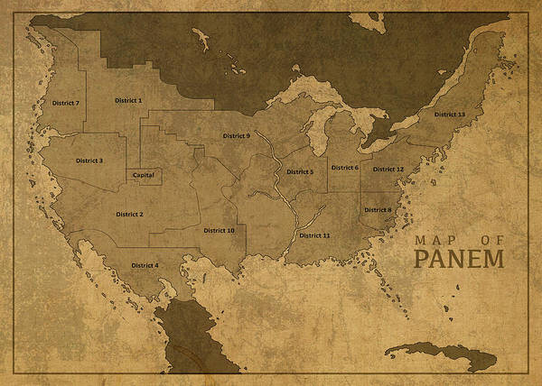 Wall Art - Mixed Media - Vintage Map Of Panem From The Hunger Games by Design Turnpike