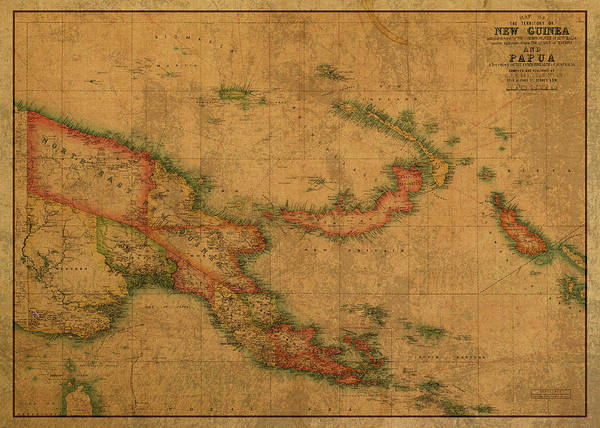 Png Wall Art - Mixed Media - Vintage Map Of Papua New Guinea by Design Turnpike