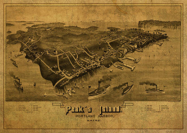 Island Mixed Media - Vintage Map Of Peaks Island Portland Harbor Maine 1885 by Design Turnpike