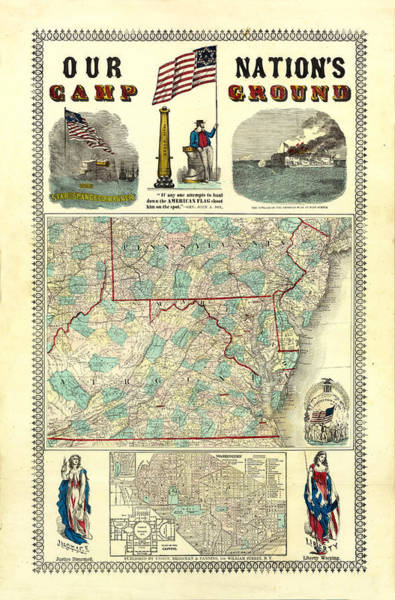 Drawing - Vintage Map Of Pennsylvania State by Peggy Collins