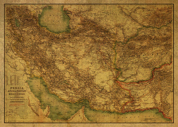 Wall Art - Mixed Media - Vintage Map Of Persia And Afghanistan 1902 by Design Turnpike