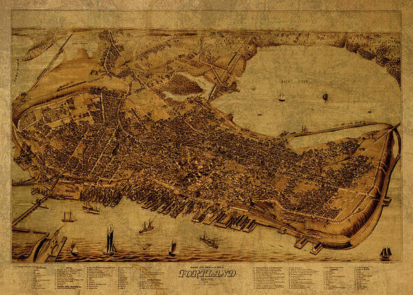 Wall Art - Mixed Media - Vintage Map Of Portland Maine by Design Turnpike