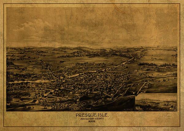 Vintage Map Of Presque Isle Maine 1894 Art Print
