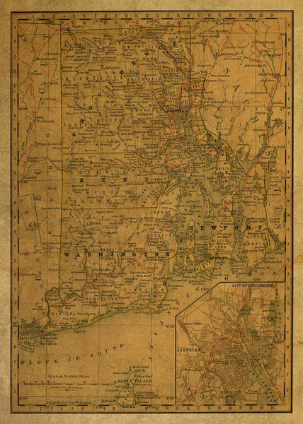 Island Mixed Media - Vintage Map Of Rhode Island by Design Turnpike
