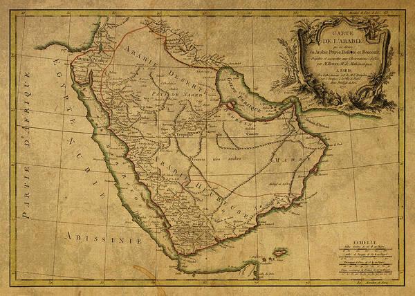 Wall Art - Mixed Media - Vintage Map Of Saudi Arabia And Arabia Peninsula by Design Turnpike