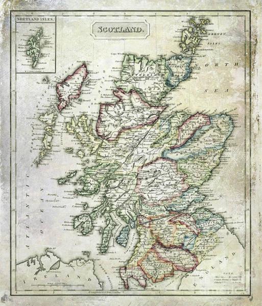 Wall Art - Photograph - Vintage Map Of Scotland by Jon Neidert