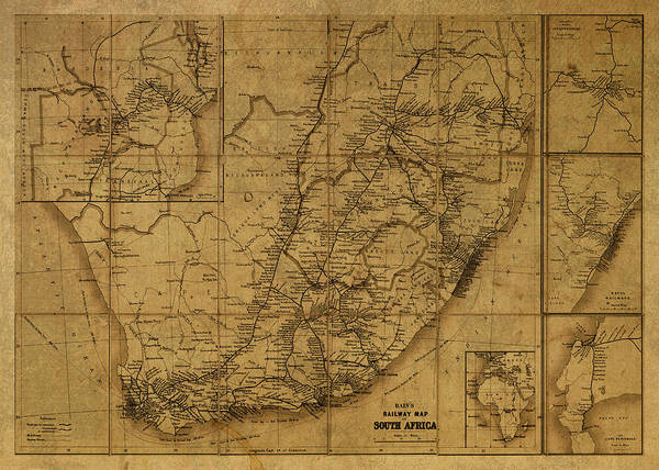 Johannesburg Wall Art - Mixed Media - Vintage Map Of South Africa by Design Turnpike