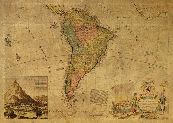 South America Mixed Media - Vintage Map Of South America 1715 by Design Turnpike