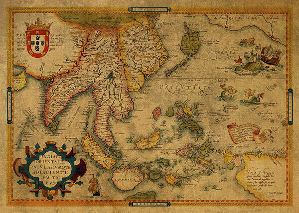 Southeast Asia Wall Art - Mixed Media - Vintage Map Of Southeast Asia 1619 by Design Turnpike