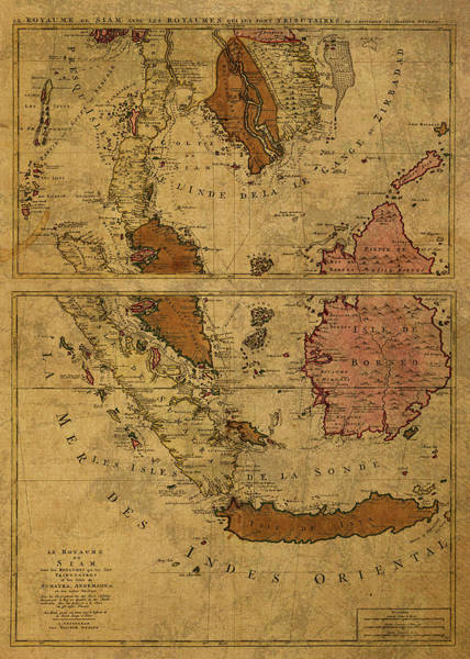Southeast Asia Wall Art - Mixed Media - Vintage Map Of Southeast Asia Siam And Sumatra 1710 by Design Turnpike