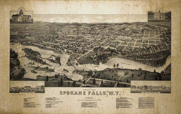 Photograph - Vintage Map Of Spokane Falls by Mark Kiver