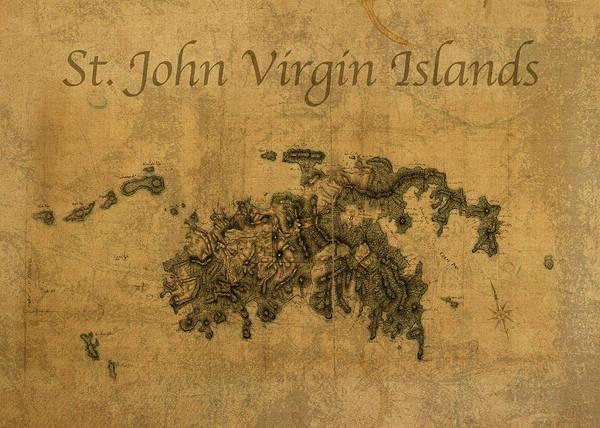 St Mixed Media - Vintage Map Of St John Virgin Islands by Design Turnpike