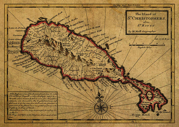 St Mixed Media - Vintage Map Of St Kitts 1736 by Design Turnpike