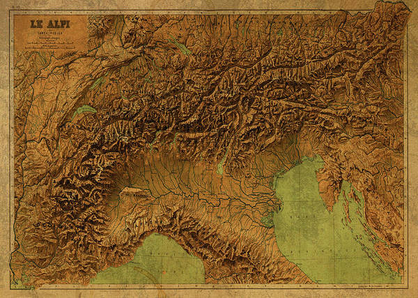Wall Art - Mixed Media - Vintage Map Of The Alps 1899 by Design Turnpike