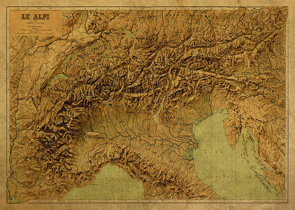 Wall Art - Mixed Media - Vintage Map Of The Alps by Design Turnpike