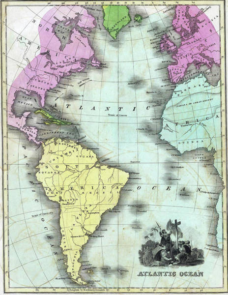Photograph - Vintage Map Of The Atlantic Ocean by Steve Estvanik