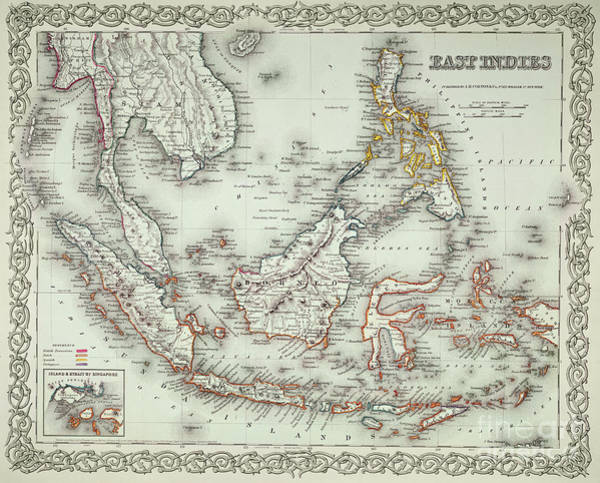 Wall Art - Drawing - Vintage Map Of The East Indies  by American School