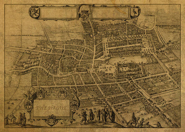 Wall Art - Mixed Media - Vintage Map Of The Hague 1598 by Design Turnpike