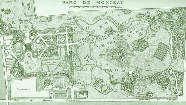 Wall Art - Drawing - Vintage Map Of The Parc De Monceau, Paris by French School