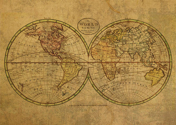 Wall Art - Mixed Media - Vintage Map Of The World 1798 by Design Turnpike