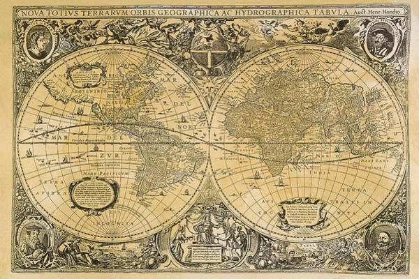 Object Digital Art - Vintage Map Of The World by Comstock