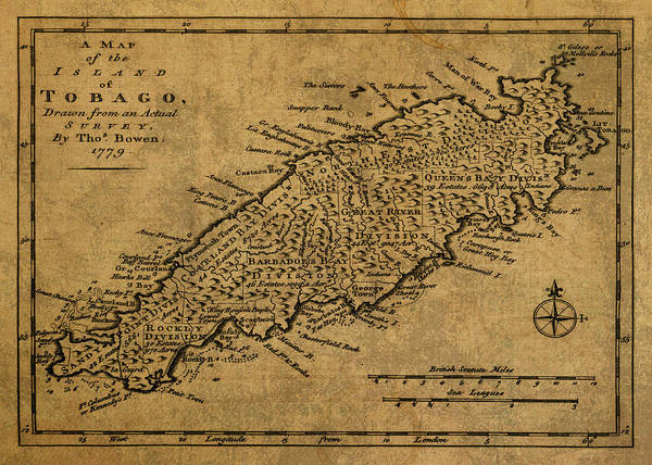 Trinidad Wall Art - Mixed Media - Vintage Map Of Trinidad And Tobago 1779 by Design Turnpike