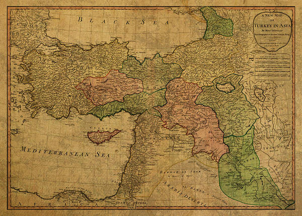Turkish Mixed Media - Vintage Map Of Turkey 1794 by Design Turnpike