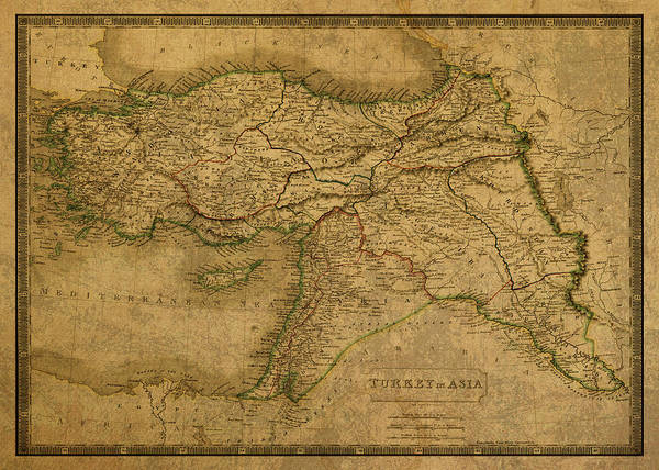 Turkish Mixed Media - Vintage Map Of Turkey 1829 by Design Turnpike