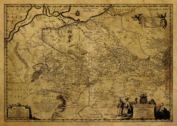 Wall Art - Mixed Media - Vintage Map Of Ukraine 1650 by Design Turnpike